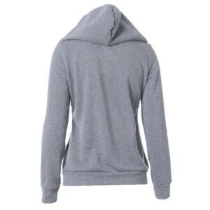 Grey Women's Zipper Long Sleeved Wool Jacket