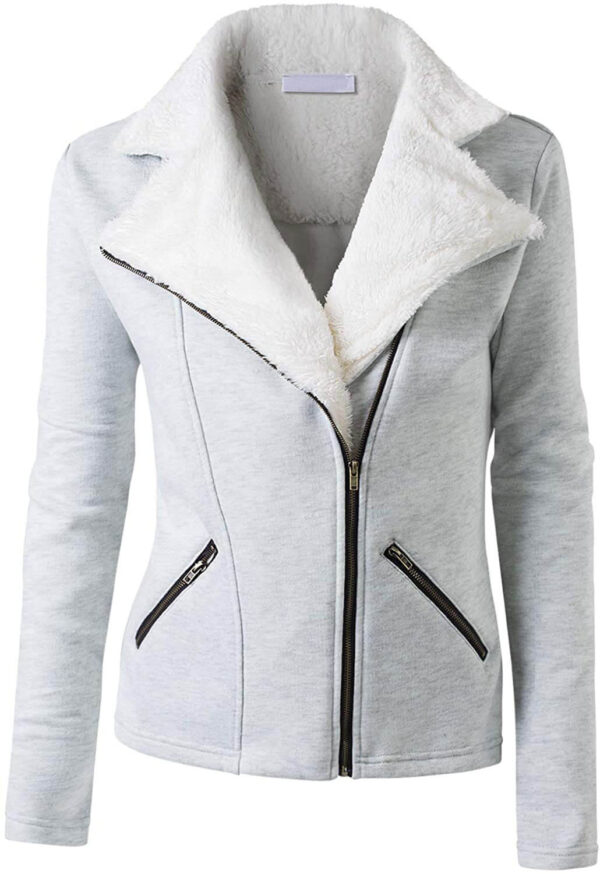 Grey Wool White Fur Women's Zip Up Jacket