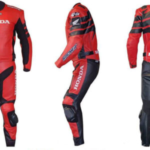 Honda Red and Black Motorcycle Racing Leather Suit