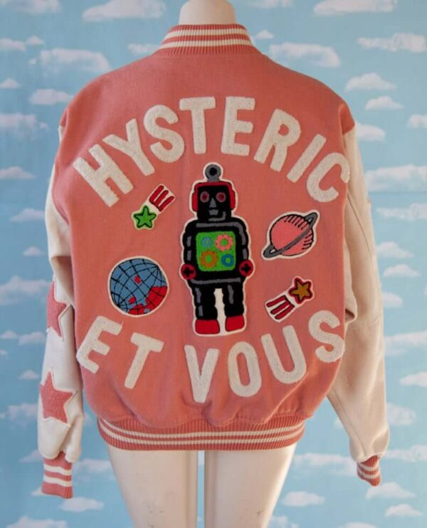 Hysteric Et Vous Pink and White Varsity Jacket
