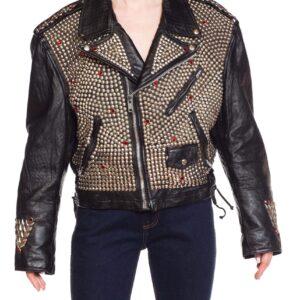 Jeff Hamilton Studded Eagle Leather Biker Jacket