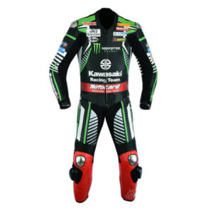 Kawasaki Monster Black and Green Motorcycle Leather Suit