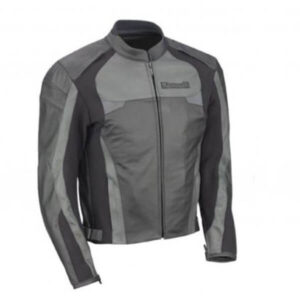 Kawasaki Black and Grey Motorcycle Leather Jacket