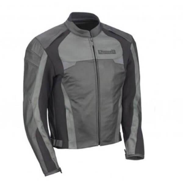 Kawasaki Black and Grey Motorcycle Leather Jacket