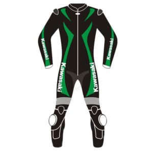 Kawasaki Ninja Black and Green Motorcycle Leather Suit