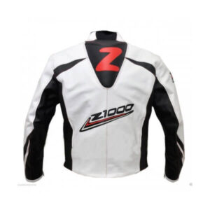 Kawasaki Z1000 White and Black Motorcycle Leather Jacket