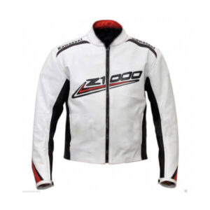 Kawasaki Z1000 White and Black Motorcycle Leather JacketKawasaki Z1000 White and Black Motorcycle Leather Jacket