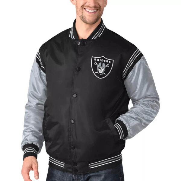 Las Vegas Raiders Black&Silver Satin Varsity Jacket