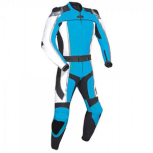 Light Blue Motorcycle Racing Leather Suit