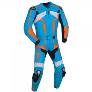 Light Blue & Orange Motorcycle Racing Leather Suit