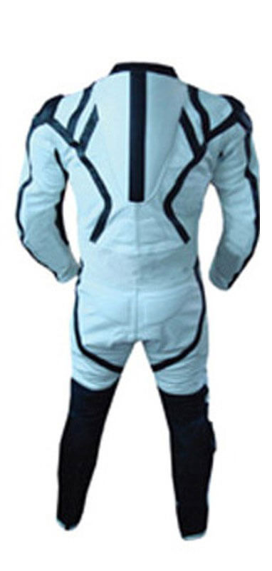 Light Blue and Black Motorcycle Racing Leather Suit
