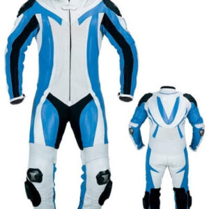 Light Blue and White Motorcycle Racing Leather Suit