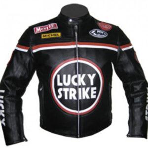 Lucky Strike Black Motorcycle Leather Jacket