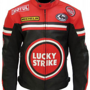 Lucky Strike Black and Red Motorcycle Leather Jacket