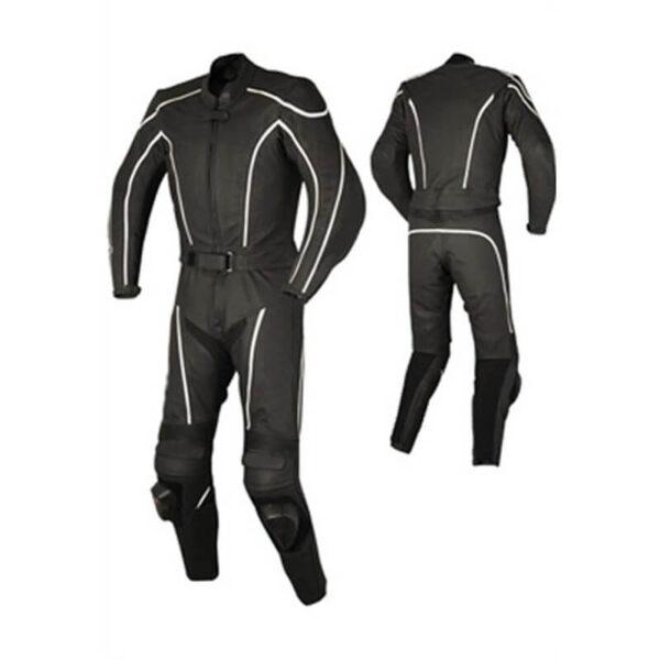 Men's Black Motorcycle Racing Leather Suit