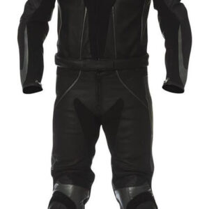 Men's Black Motorcycle Sports Racing Leather Suit