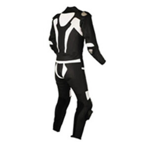 Men's Black and White Motorcycle Racing Leather Suit