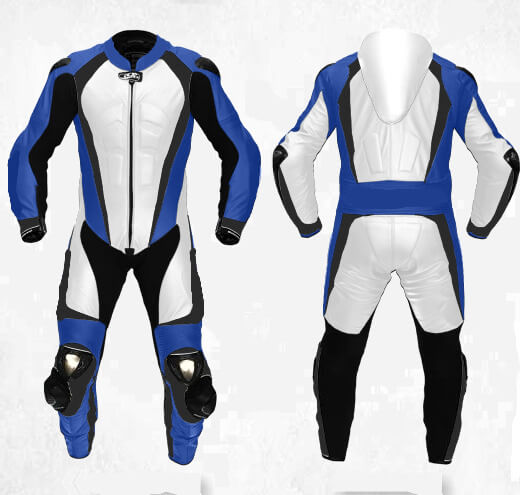 Men's Blue Motorcycle Sports Racing Leather Suit