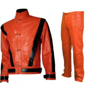Michael Jackson Orange and Black Leather Suit
