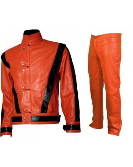 Michael Jackson Orange and Black Leather Suit