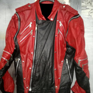 Michael Jackson Red Black Leather Studded Jacket