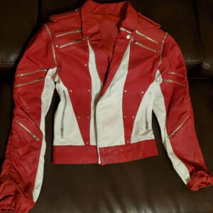 Michael Jackson Red White Leather Studded Jacket