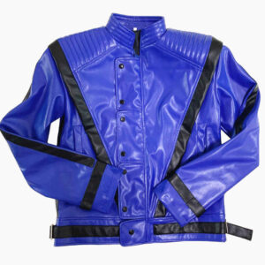 Michael Jackson Thriller Blue and Black Leather Jacket