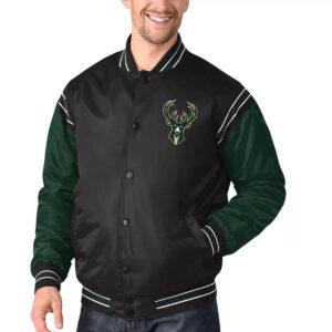 Milwaukee Bucks Satin Varsity Black and Hunter Green Jacket