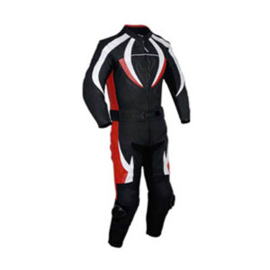 Motorcycle Black, Red and White Racing Leather Suit