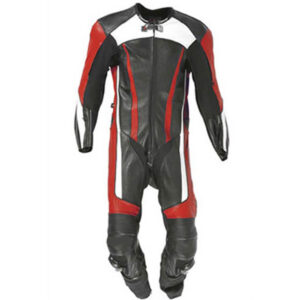 Motorcycle Black and Red Racing Leather Suit