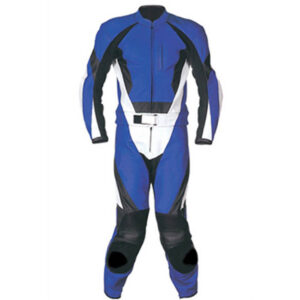 Motorcycle Blue and Black Racing Leather Suit