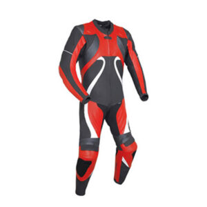 Motorcycle Red and Black Sports Racing Leather Suit
