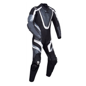 Motorcycle Silver and Black Racing Leather Suit