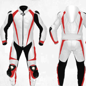 Motorcycle White Sports Racing Leather Suit