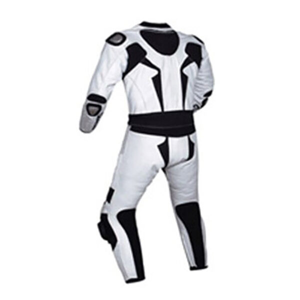 Motorcycle White and Black Sports Racing Leather Suit (2)