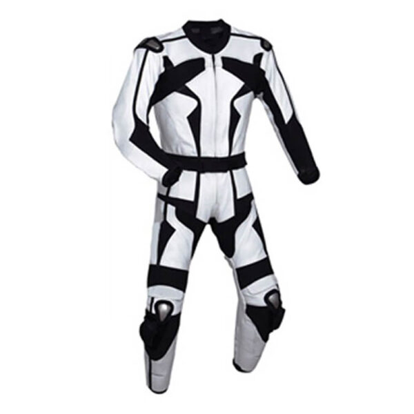 Motorcycle White and Black Sports Racing Leather Suit