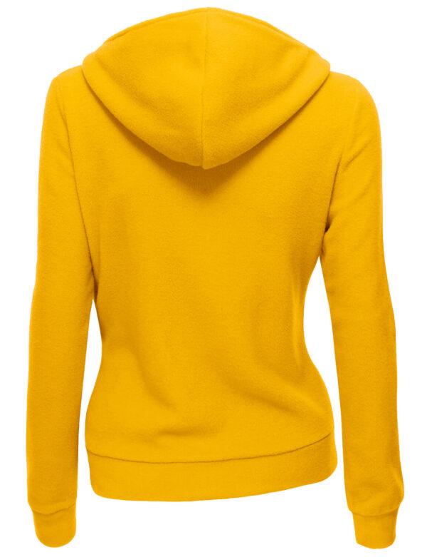 Mustard Women's Zipper Long Sleeved Wool Jacket