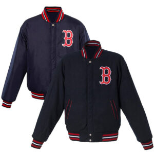 Navy Boston Red Sox Reversible Wool Jacket