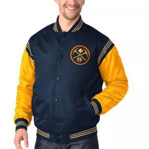 Navy&Gold Denver Nuggets Varsity Satin Jacket