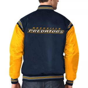 Navy&Gold Nashville Predators Satin Varsity Jacket