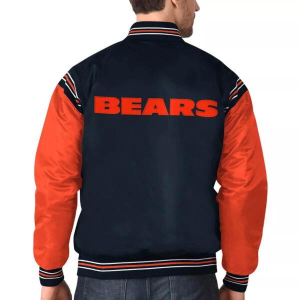 Navy&Orange Chicago Bears Varsity Satin Jacket