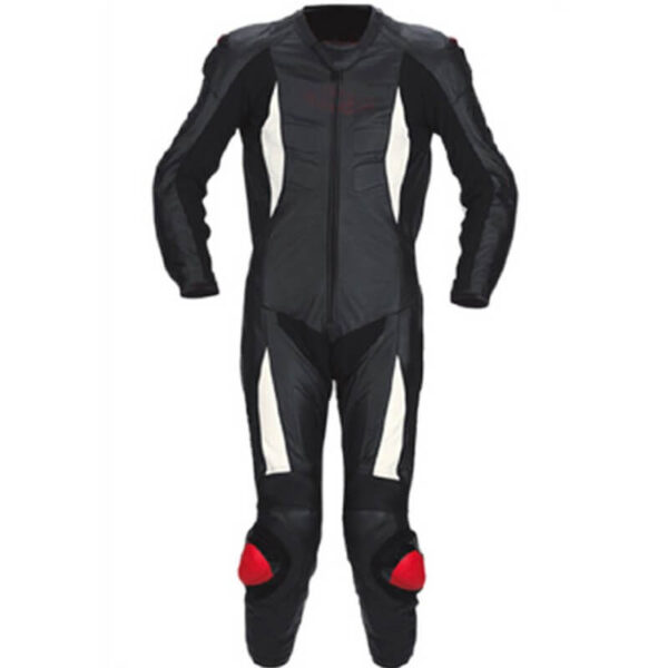 New Black and White Motorcycle Racing Leather Suit