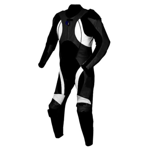 New White and Black Motorcycle Racing Leather Suit