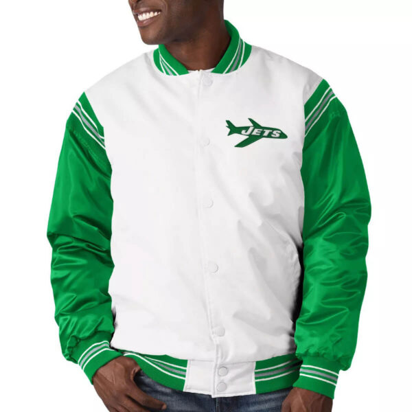New York Jets Historic Logo Renegade Satin Varsity Jacket