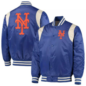 New York Mets Royal and Cream Varsity Satin Jacket