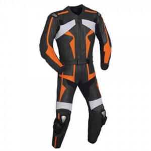 Orange & Black Motorcycle Racing Leather Suit