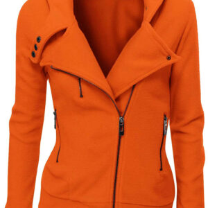 Orange Women's Zipper Long Sleeved Wool Jacket