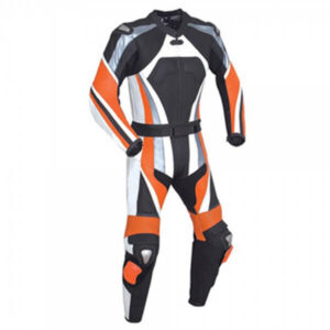 Orange and Black Motorcycle Racing Leather Suit