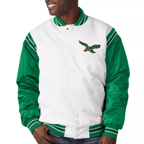 Philadelphia Eagles Historic Logo Renegade Satin Varsity Jacket