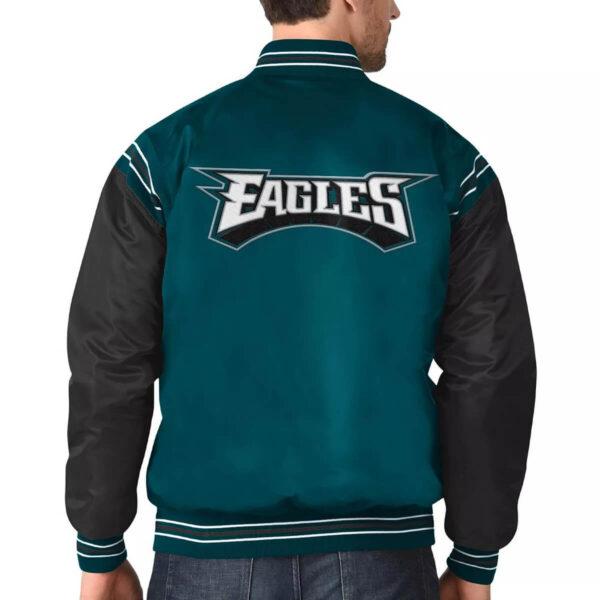 Philadelphia Eagles Midnight Green and Black Satin Varsity Jacket